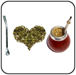 "a mate prepared and a bombilla, ""I love yerba mate"""